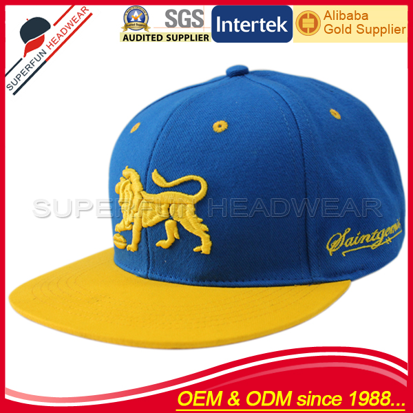 high standard lion pattern embroidery snapback cap