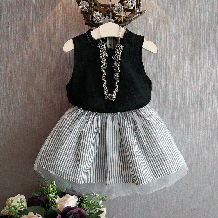 Bestselling Casual Kids Summer Clothing Sets Short Lace Ruffle Dress And Sleeveless Vest