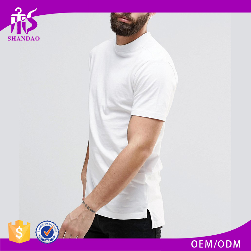Guangzhou Shandao 180g 95% Cotton 5% Spandex Summer Casual White Short Sleeve Plain Dyed Mens Mock Neck T Shirt