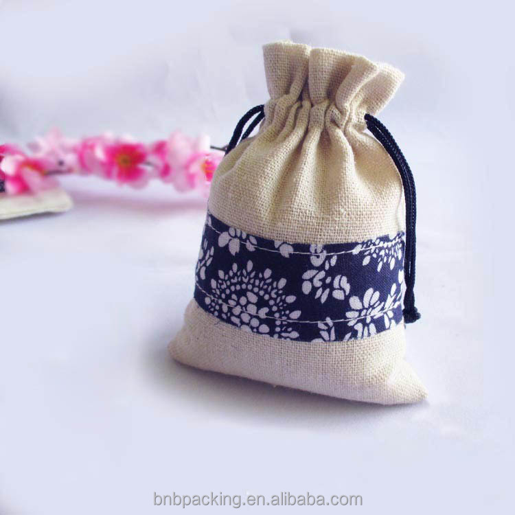 Small MOQ300 Cotton Linen Drawstring Gift Bag for Jewelry Wedding Party Favors Packaging Bag