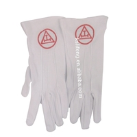 Custom Free Size White Cotton Masonic Gloves