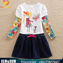 Cute baby girl embroidered dress one piece fashion frock design for children