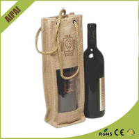 promotional jute wine bags with pvc window portable style