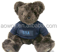 logo giveaway toy plush stuffed soft bear in a ddark blue air force sweater t-shirt bandana custom imprinted gift toy551