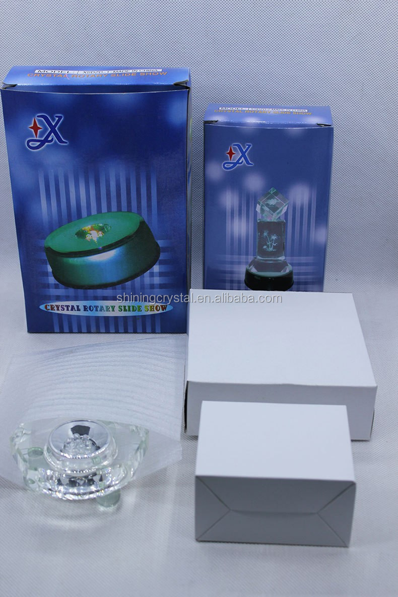 glass base with small led lighting by cell battery for crystal gift