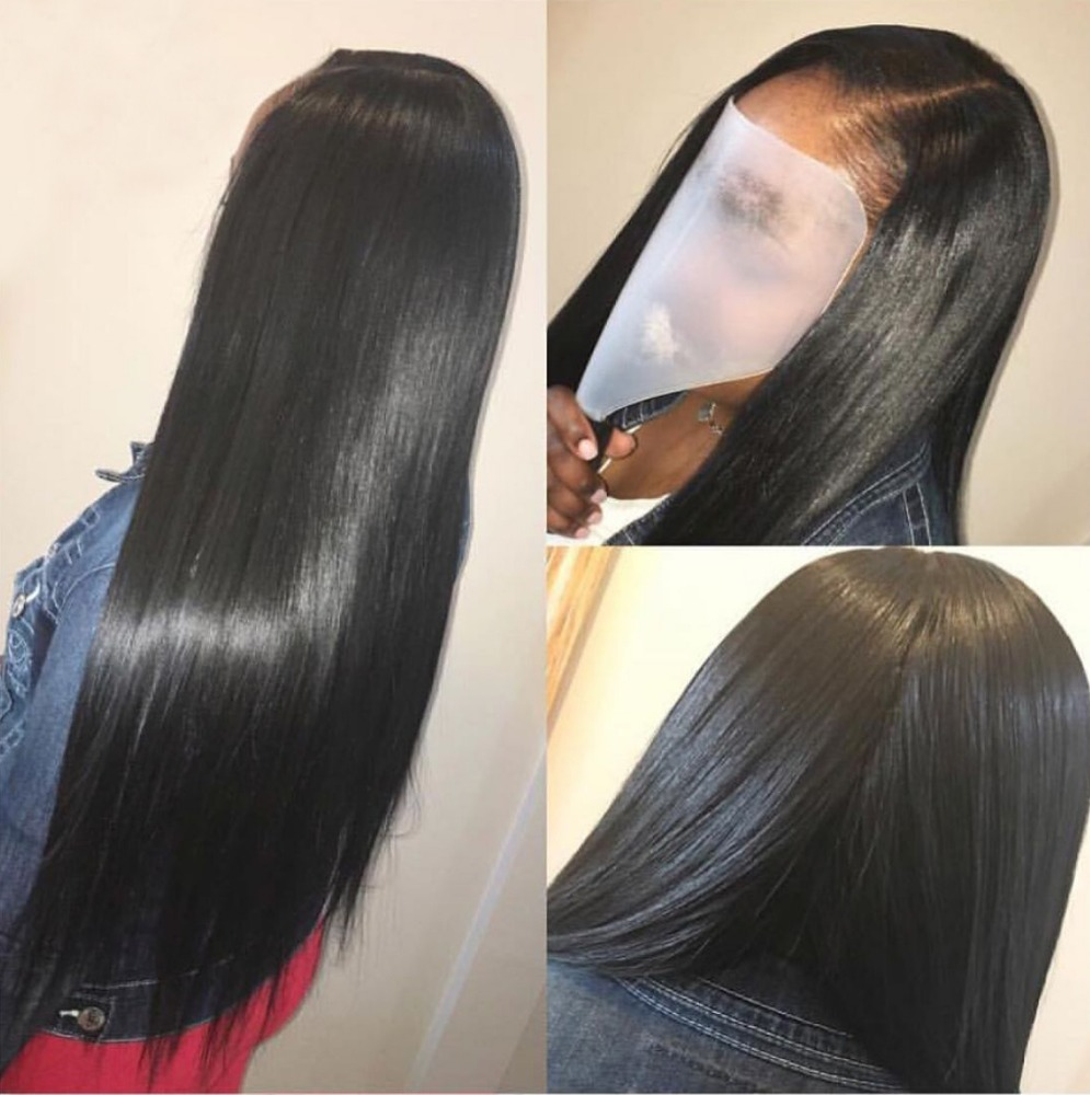Highest quality Brazilian natural straight lace frontal closure bleached knots full lace frontal with hair bundles