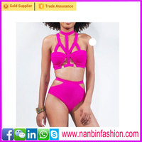 cheap wholesale high quality Halter pink high waist swimwear bikini girl xxx china photos
