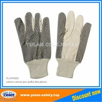 cotton canvas pvc polka dot work glove safety equipment