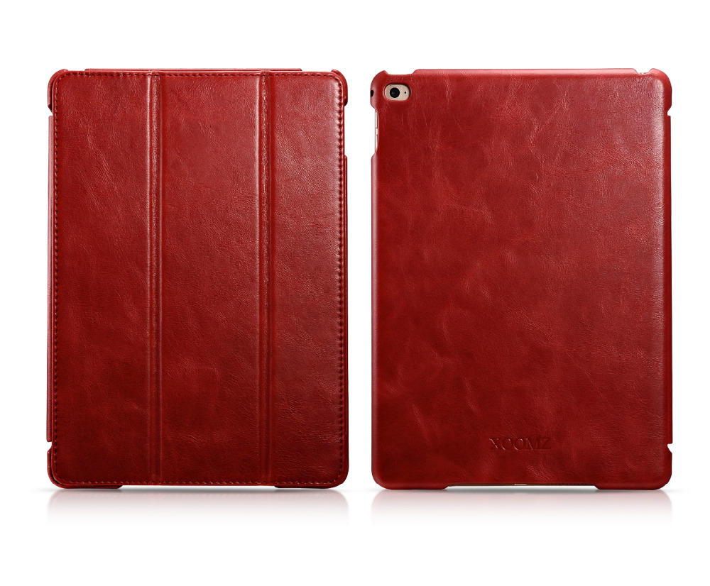 Original Icarer Vintage Series Genuine Leather Flip Smart Case, With Sleep Function Cover For iPad Air 2 PI-012