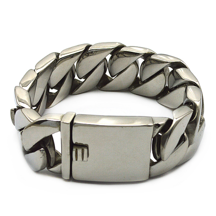 Wholesale high quality silver tone stainless steel punk heavy mens jewelry