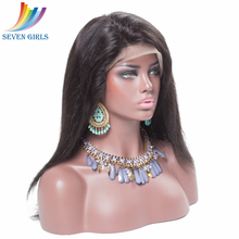 Indian Remy Human Hair Straight 14 Inches 130% Density 360 Lace Frontal Wigs