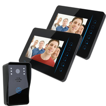 "7"" wireless color video door phone 2 monitor+1camera for villas houses and flats"