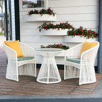white colour 3 pcs rattan / wicker furniture garden outdoor round sofa set