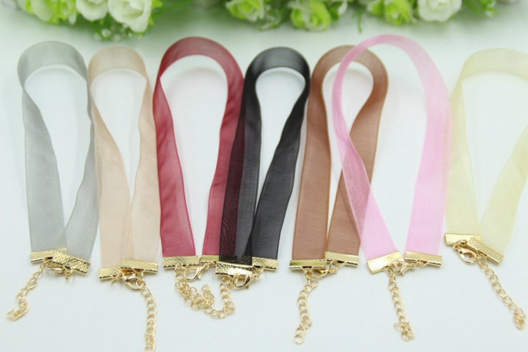 Handmade Satin Ribbon Choker Necklaces Colorful Women Costume Chocker Necklace Jewelry