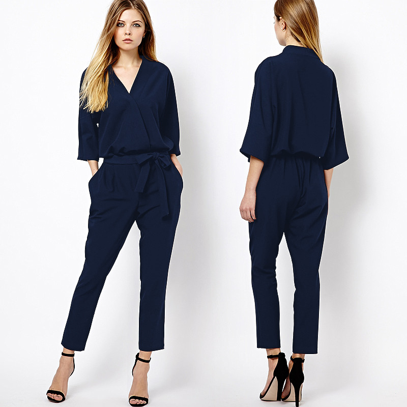 2017 Fashion long sleeve fomal women jumpsuit for wholesale