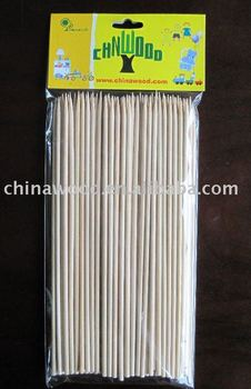 round bamboo skewers with designed card