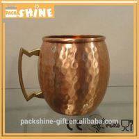 Manufacurer 16oz single wall hammered mini moscow mule copper mugs with handle