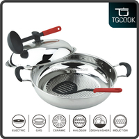 Stainless Steel Wok Frying Pan with Spatula and Soup Ladle