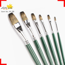 Bulk Hot Sale Top Quality Mongoose hair Artist Brushes For Kids Brass ferrule Flat Brush Head For Acrylic Paints
