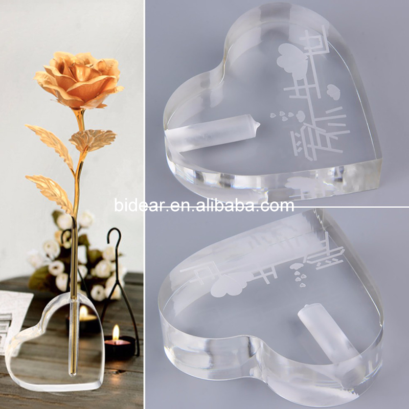 Hot Sale Single Rose Stand Holder Heart Single Flower Vase for Table Centerpieces