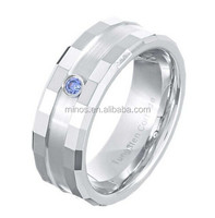 8mm Comfit Fit Tungsten Carbide Tanzanite Cubic Zirconia Men's Wedding Band Discount Diamond Rings