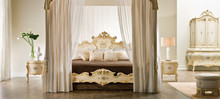 Distinguished Classic European Antique White Canopy Bed with Colorful Floral Painting BF11-08303f