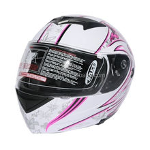 DOT Pink Butterfly Flip Up Modular Full Face Women Motorcycle Helmet Size S M L