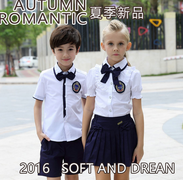 Children kindergarten or primary school uniform t-shirt and skirt or pants