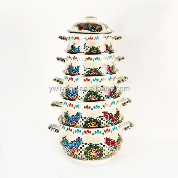Hot Sale Ivory Tribal Pattern Enamel Casserole Set Enamel Pot Enamel Cookware Manufacturer