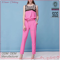 hot sale ankle length pink casual jumpsuit for women with back zipper