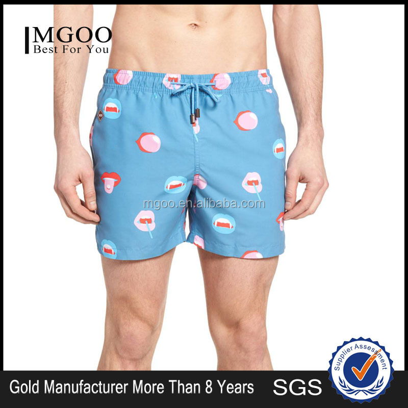 Customize Pattern And Color Cheeky Mouthful Print Bigmouth 100% Nylon Swim Trunks Quick Drying Split Leg Opening Swim Shorts
