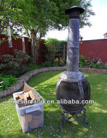 LARGE CHIMINEA PATIO HEATER AND BBQ GRILL WITH LOGS
