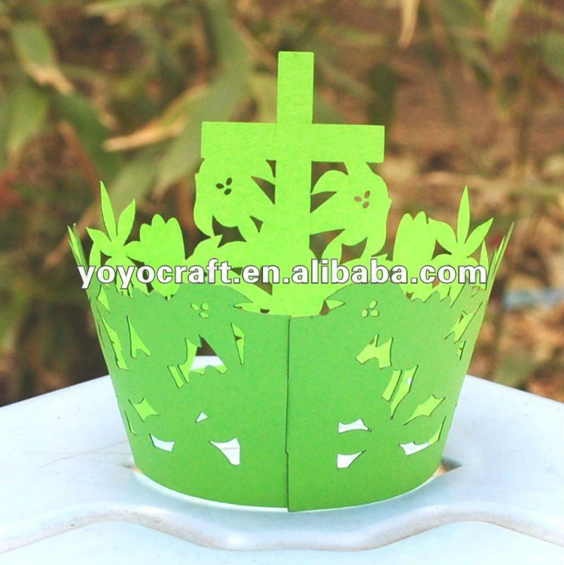 hot sell personalized Easter decoration laser cut customized unique cupcake holders
