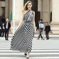 Women backless cross black and white striped long dress