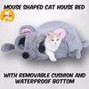The Best Cure Cat Bed For Cat, Mouse Shaped Cat House Bed with Removable Cushion & Waterproof Bottom, Two Dangling Pom Cat Toys