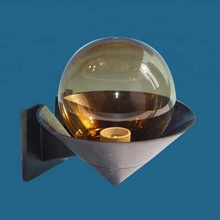 uvioresistant pmma tea color outdoor globe wall light frosted glass lamp