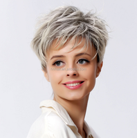grey mixed color Short Shag style Wavy Synthetichair WIg for Woman