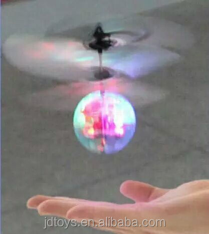 Plastic Toy Flash Flying Ball Infrared Induction Colorful LED Disco Remote Control Helicopter for kids Toys
