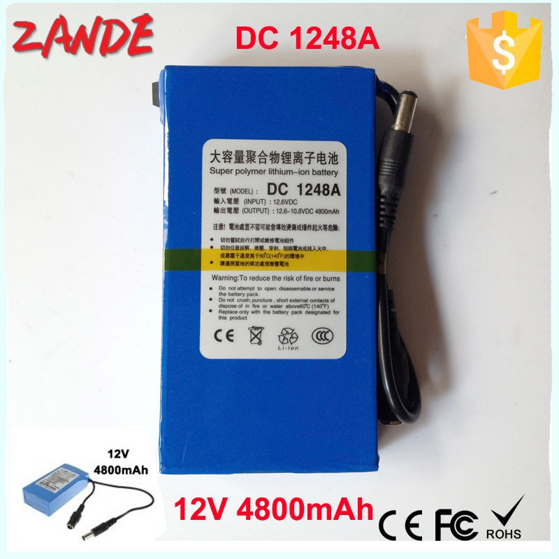 Super Mini DC 1248A 4800mAh 12V Rechargeable Li-ion battery for GPS,Lan router , CCTV