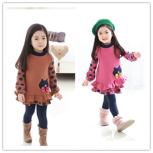 2015 New Fashion Cat Pattern Cotton Kids Casual Dressses