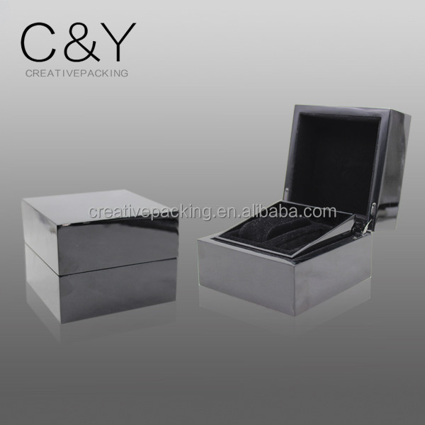 9mm thick MDF wood velvet insert single glossy watch packaging box