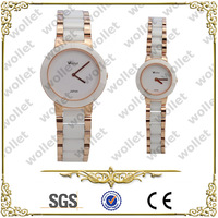 2014 Wholesale Vogue luxury White Sapphire Crystal Ceramic watches for couples