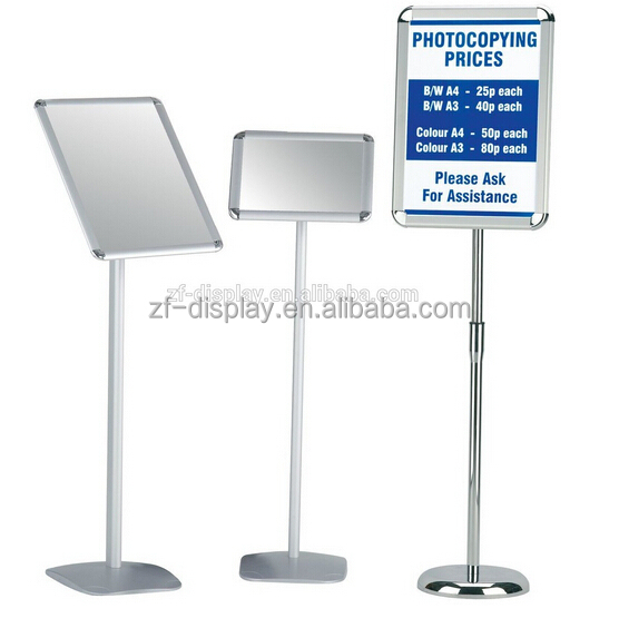 aluminum A3-A4 custime size poster stand adjustable height windproof poster stand display