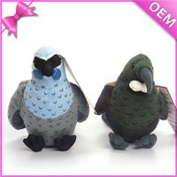 customized stuffed fabric birds 10 inches cute plush stuffed parrot bird with grey fur