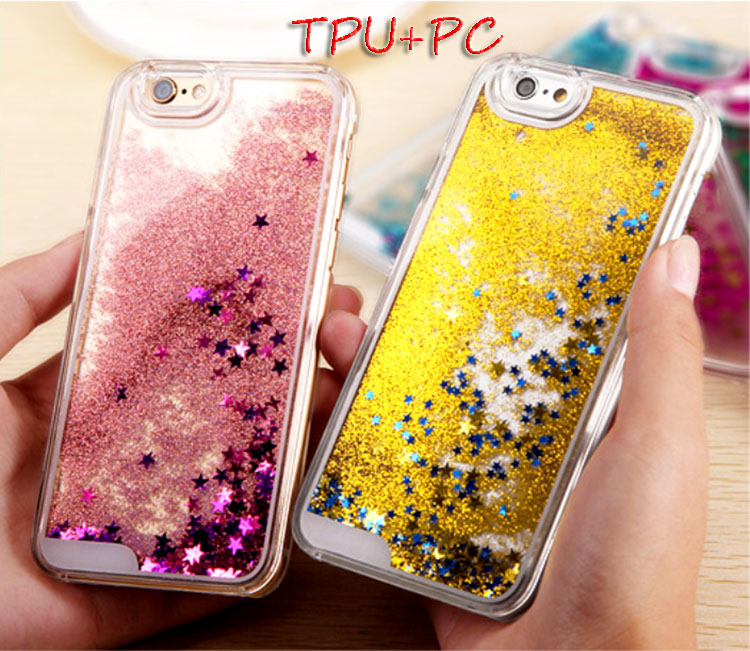 Fashion Dynamic Hot Selling liquid glitter star quicksand phone case for iphone 6 /6s/6plusTPU+PC case