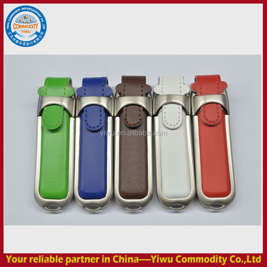 customize wholesale promotion gift 16Gb 32GB swivel leather USB stick usb flash drive with logo