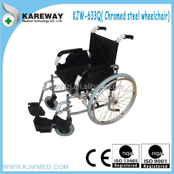 Manual folding standard size wheelchair with quick release rear wheel
