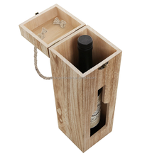 hot selling BSCI christmas wooden single beer wine bottle storage box