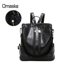 New Design Fashion Girls Women School Student Leisure USB Smart Black PU Leather Bag Backpack