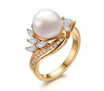 Exquisite fashion ring, copper plating white zircon 3 mm pearl ring, factory direct sale YSS712
